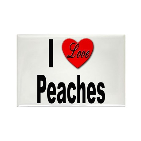 I Love Peaches Rectangle Magnet (10 pack)