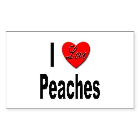 I Love Peaches Rectangle Sticker