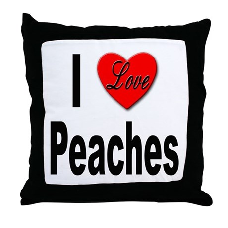 I Love Peaches Throw Pillow