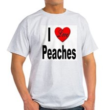 I Love Peaches (Front) Ash Grey T-Shirt