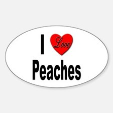 I Love Peaches Oval Decal