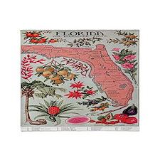 Vintage Florida Fruit Flower Map Throw Blanket