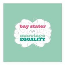 "Bay Stater for Equality Square Car Magnet 3"" x 3"""
