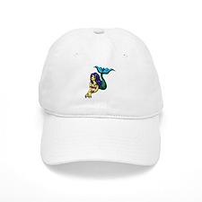 Brunette Mermaid Tattoo Baseball Cap