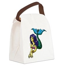 Brunette Mermaid Tattoo Canvas Lunch Bag