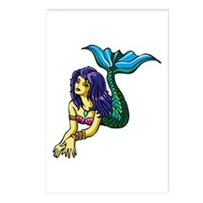 Brunette Mermaid Tattoo Postcards (Package of 8)
