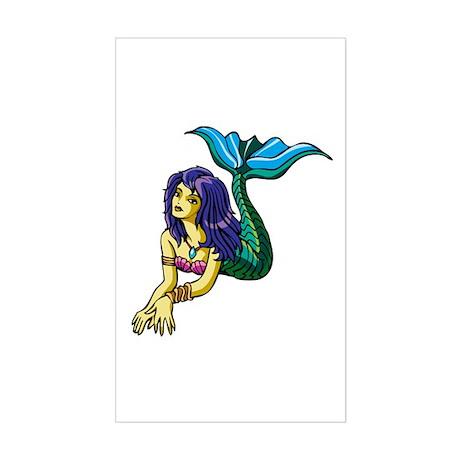Brunette Mermaid Tattoo Sticker (Rectangle)
