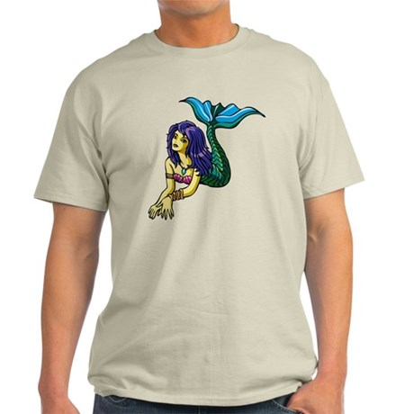 Brunette Mermaid Tattoo Light T-Shirt