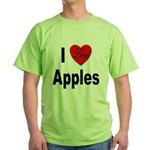 I Love Apples (Front) Green T-Shirt