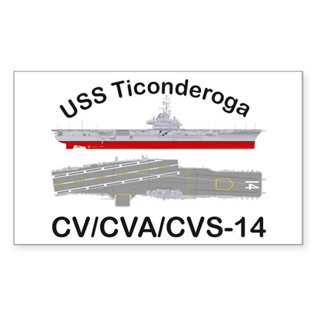 USS Ticonderoga CVA-14 Sticker (Rectangle)