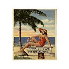 Vintage Florida Private Beach Throw Blanket