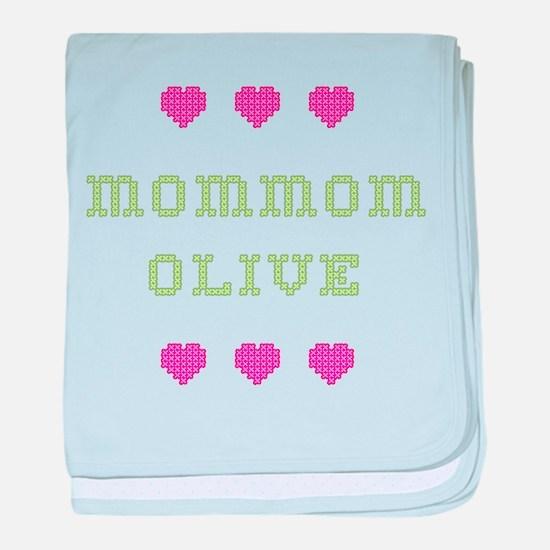 MomMom Olive baby blanket