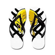 Tribal Yellow Skull Tattoo Flip Flops