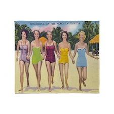 Vintage Florida Beach Beauties Throw Blanket