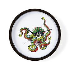 Alien Octopus Tattoo Wall Clock