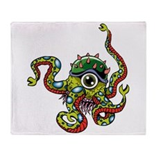 Alien Octopus Tattoo Throw Blanket