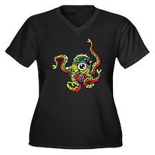Alien Octopus Tattoo Women's Plus Size V-Neck Dark