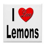 I Love Lemons Tile Coaster