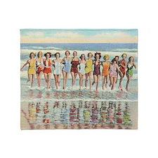 Vintage Women Running Beach Retro Throw Blanket