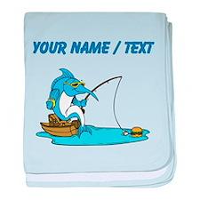 Custom Marlin Fishing Cartoon baby blanket