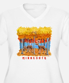 Minnesota Whitetail Deer in Leaves Plus Size T-Shi