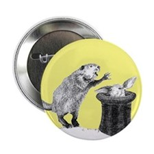 """Yellow beaver and rabbit 2.25"""" Button"""