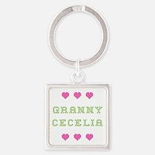 Granny Cecelia Square Keychain