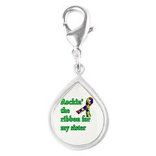 Autism Ribbon for Sister Silver Teardrop Charm