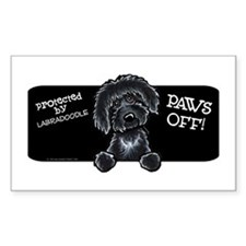 Paws Off Black Labradoodle Decal