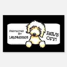 Yellow Labradoodle Paws Off Decal