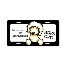 Labradoodle Yw Paws Off Aluminum License Plate