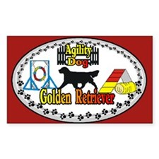 Golden Retriever Agility Oval Decal