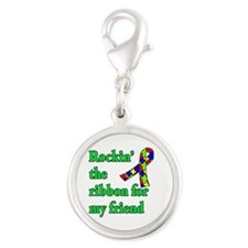 Autism Ribbon for My Friend Silver Round Charm