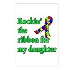 Autism Ribbon for My Daughter Postcards (Package o