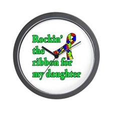 Autism Ribbon for My Daughter Wall Clock