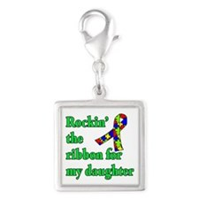 Autism Ribbon for My Daughter Silver Square Charm