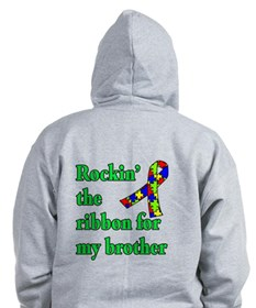 Autism Ribbon for My Brother Zip Hoodie