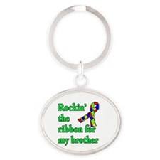 Autism Ribbon for My Brother Oval Keychain