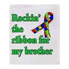 Autism Ribbon for My Brother Throw Blanket