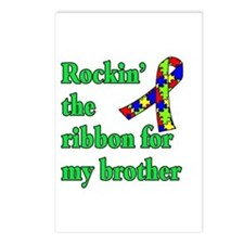Autism Ribbon for My Brother Postcards (Package of