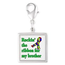 Autism Ribbon for My Brother Silver Square Charm