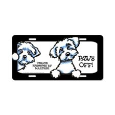 Maltese Paws Off Double Aluminum License Plate