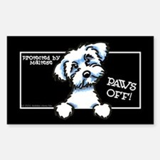 Maltese Paws Off Black Decal