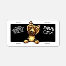 Norwich Terrier Paws Off Aluminum License Plate