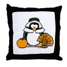 Pilgrim Girl Penguin Throw Pillow