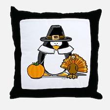 Pilgrim Boy Penguin Throw Pillow