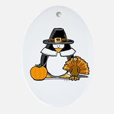Pilgrim Boy Penguin Oval Ornament