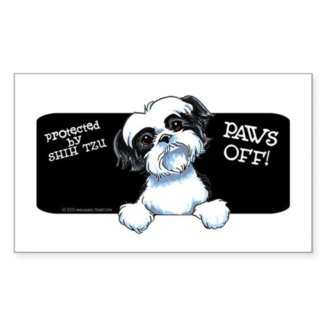 B/W Shih Tzu Paws Off Sticker (Rectangle)
