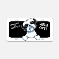 B/W Shih Tzu Paws Off Aluminum License Plate