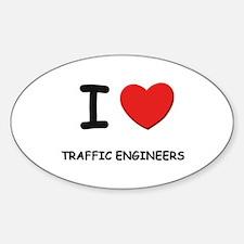 I Love traffic engineers Oval Decal